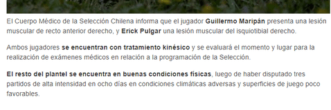 Chile y el comunicado informando lesiones de Pulgar y Marián.