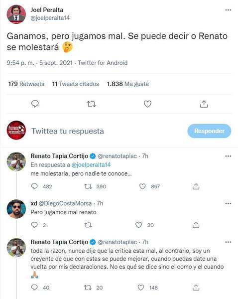 Respuesta de Renato Tapia a tweet de periodista.